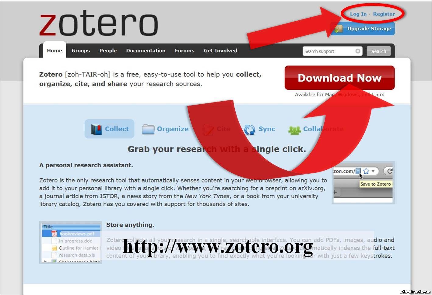 Главная страница сайта Zotero