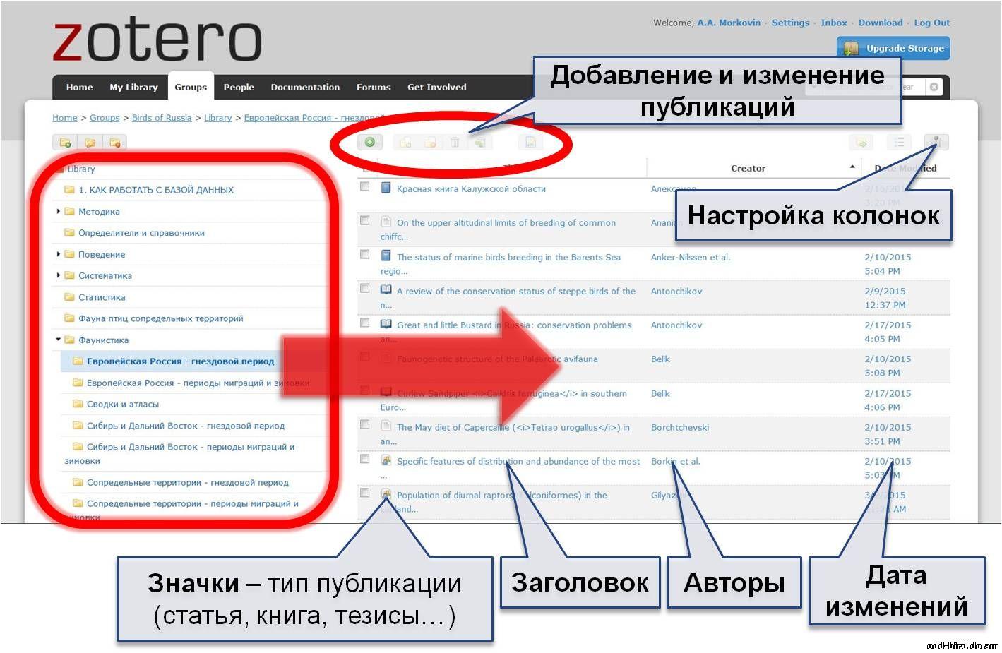 Онлайн-интерфейс Zotero